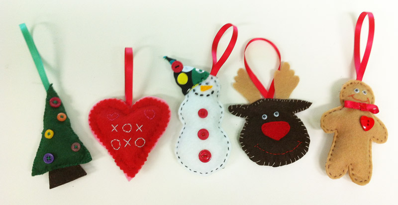 hand sew felt christmas decorations wednesday pm the